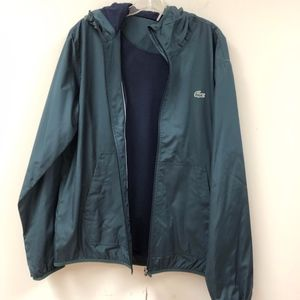NWT LACOSTE men's green hooded windbreaker